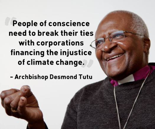 Desmond Tutu: People of conscience need to break their ties with corporations financing the injustice of climate change.