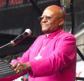 Archbishop Desmond Tutu addresses a crowd in Durban during the lead-up to the 2011 COP 17 global climate summit.