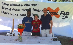 Fossil Free SA at the Renewable Energy Festival in Greenpoint, Cape Town